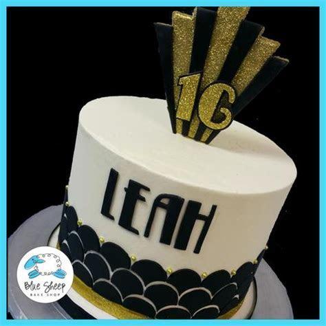 Great Gatsby Sweet 16 Birthday Cake   Blue Sheep Bake Shop