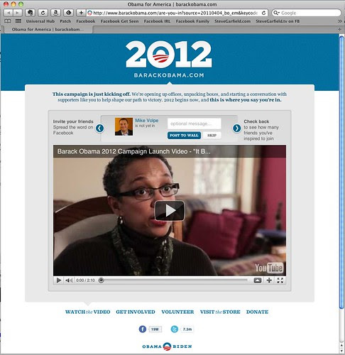 Obama 2012 Website Initial Page