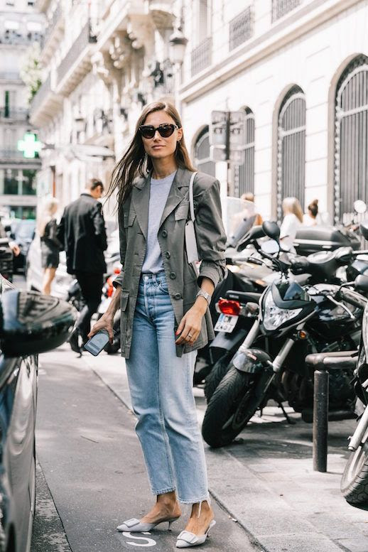 Le Fashion PFW Gray Blazer Gray T Shirt Vintage Inspired Jeans Slide On Kitten Heel Shoes Via Collage Vintage Giorgia Tordini