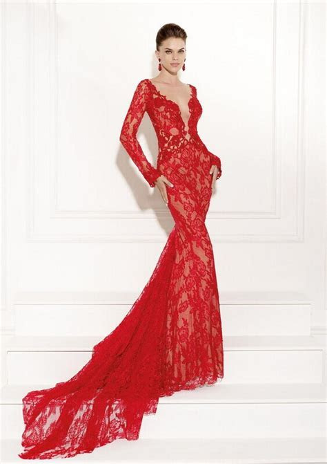 2015 Prom Dresses Red Lace Plunging Deep V Neck Long