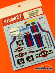 Studio27: Calcas escala 1/24 - Mercedes SLS GT3 Martini Nº 33 - Peter Schmidt (DE) + Christian Bracke (DE) + Mirco Schultis (DE) + Renger van der Zande (NL) - 12 Horas de Zandvoort 2014 - para kit de Fujimi FJ123929