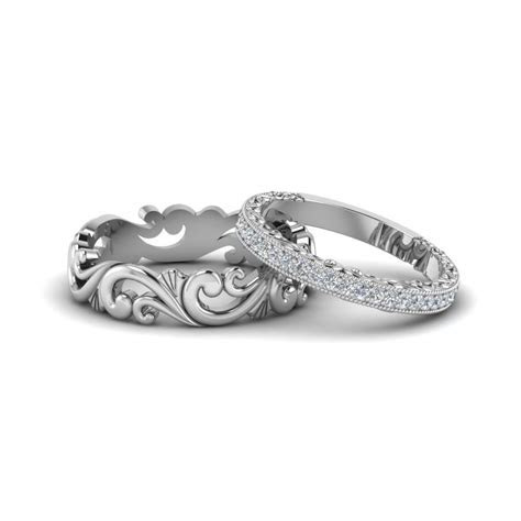 Filigree Wedding Rings His And Hers Matching Sets In 18K
