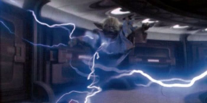 Yoda shocked by Darth Sidious' Force lightning.