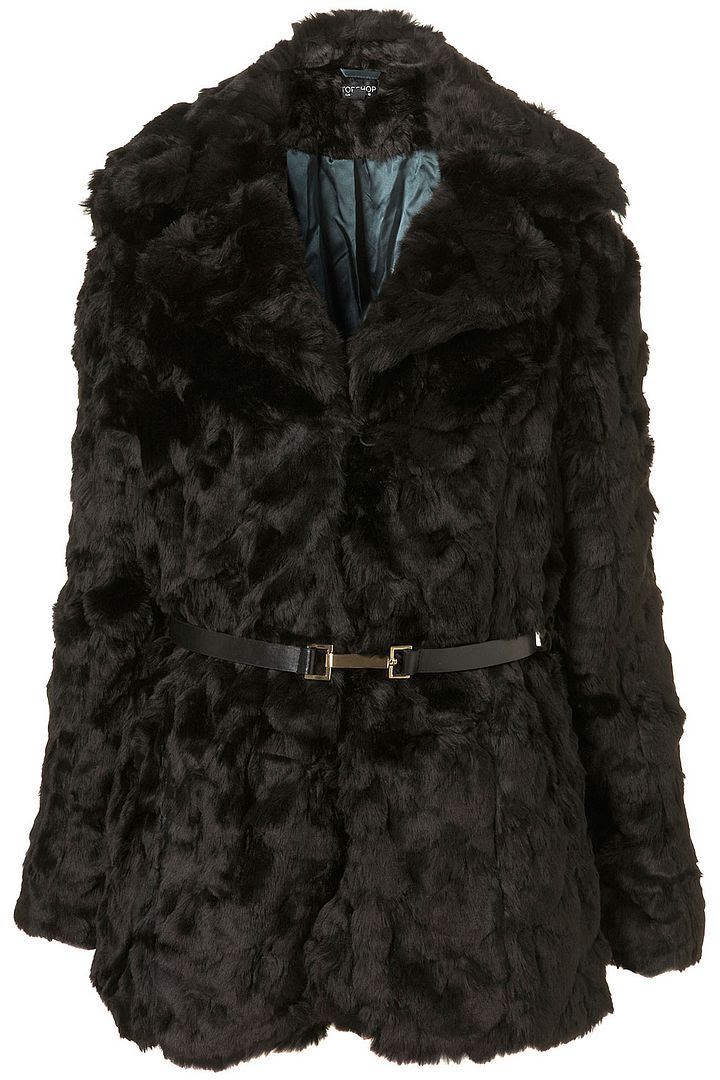 TopShop Textured Faux Fur Belted Coat