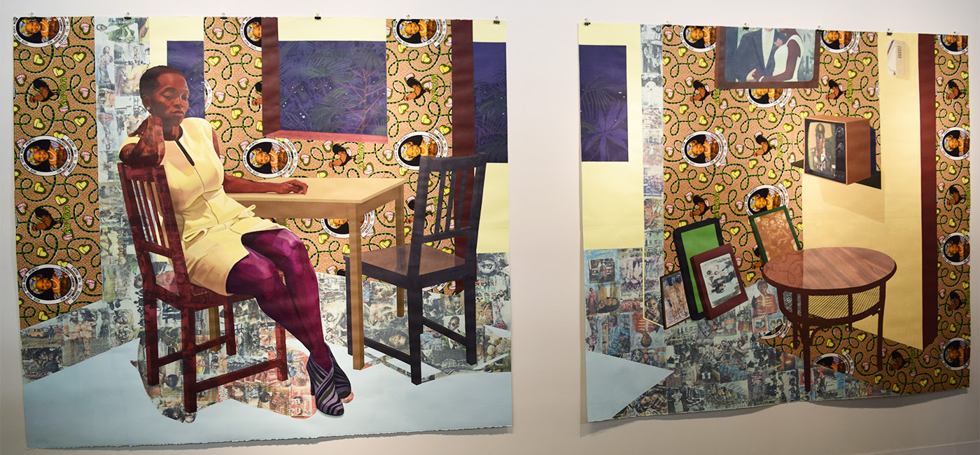 "Njideka Akunyili Crosby, ""Portals"" (2016) at the 2016 Armory Show (photo by Benjamin Sutton/Hyperallergic)"