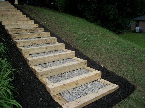 landscaping timber steps