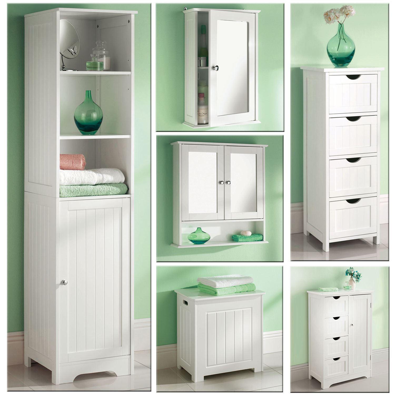 White Wooden Bathroom Cabinet Shelf Cupboard Bedroom ...