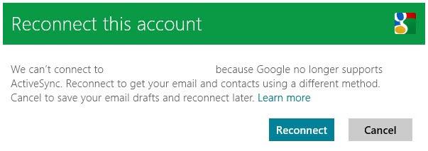 Google no longer supports ActiveSync