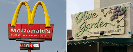 Worst restaurants to work for (L-R) McDonald's (Scott Boehm/Getty Images) , Olive Garden (AP Photo/Tom Strattman)