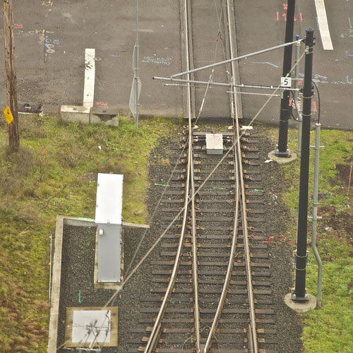 View of the Portland Streetcar Tracks from the Aerial Tram