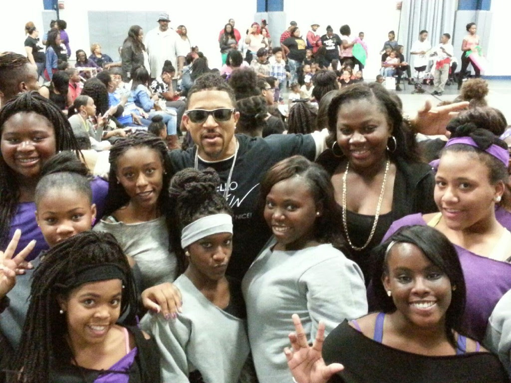 V.A.I.N and the kids in attendance at DJ Demp's Anti-Bully Rally