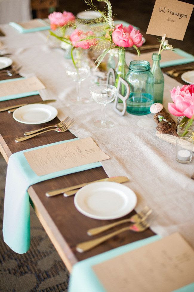 coral + turquoise and one crazy pretty beachside table  Photography By / http://volatilephoto.com,Wedding Planning, Styling and Floral Design By / http://lovelylittledetails.com