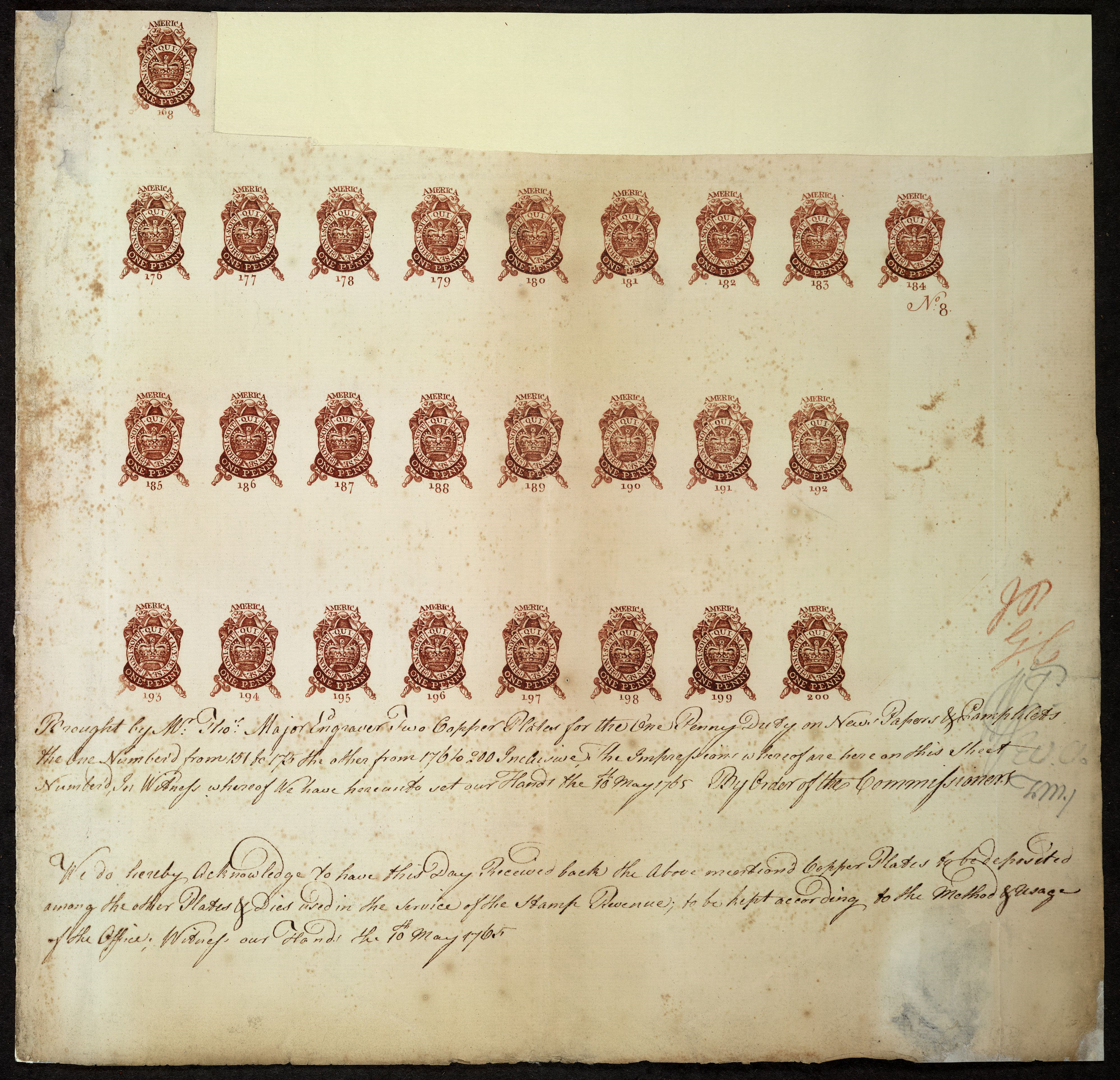 Stamps under the Stamp Act