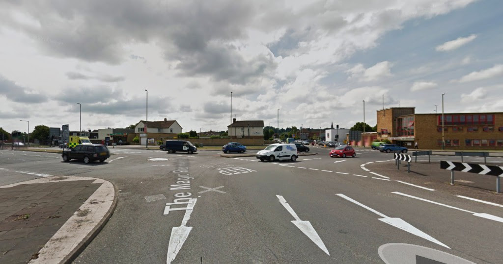 The object was triangle-shaped and the area immediately underneath the craft was very brightly illuminated by the powerful lights. Pictured: Magic Roundabout Intersection near Drove Road. (Credit: Google)