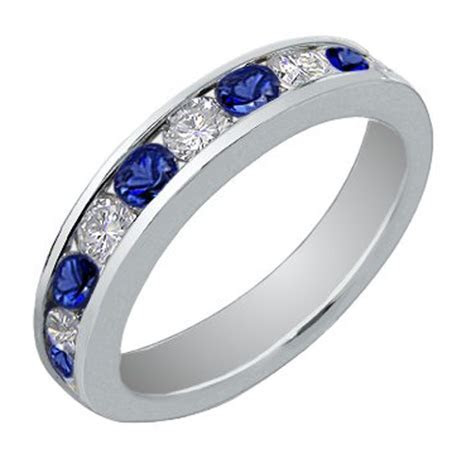 1.00 Ct Round Cut Diamond And Blue Sapphire Wedding Band Ring