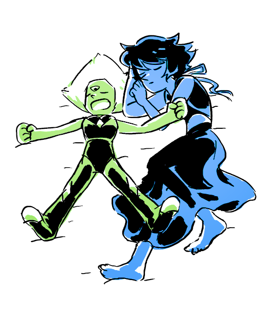 """@jkgames said to tinsil: 🛌 peridot lapis "" 🛌: draw two or more characters sleeping next to each other gems don't need to sleep but if they did peridot would snore"