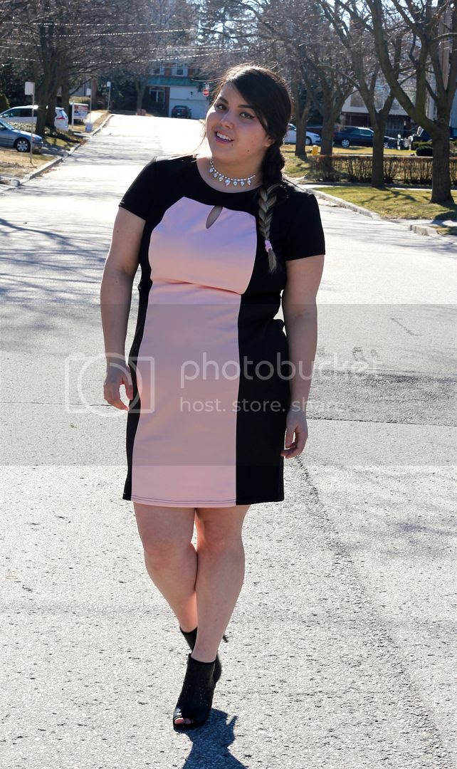 plus size color block dress fatshion plus size fashion toronto canada blogger junarose blazer plus size blogger