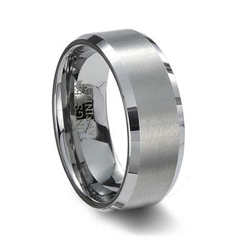 Brushed Tungsten Wedding Band & Beveled Edges