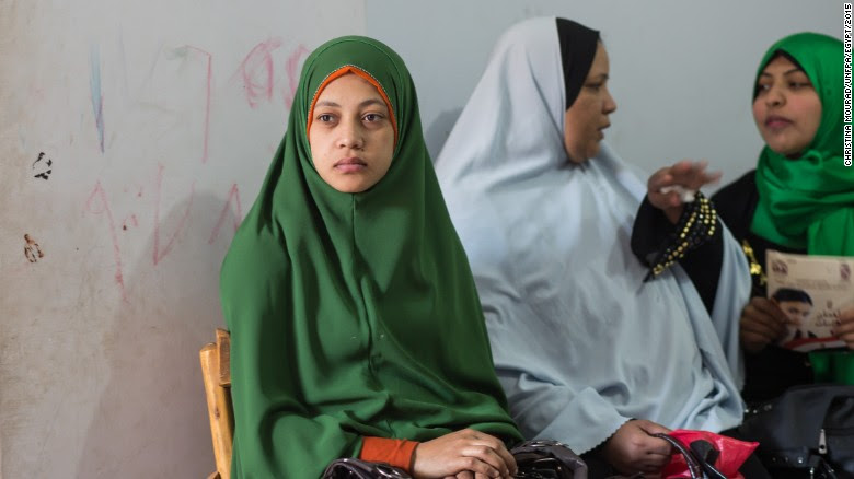 More women have undergone FGM in Egypt than any other country. Here, women wait to tell their stories about living with FGM at the Society of Islamic Center near Sohag in January 2015.
