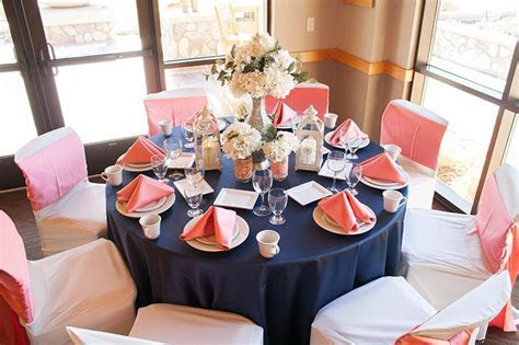 Coral and Navy Table Setting   I Do! Wedding Fever in 2019