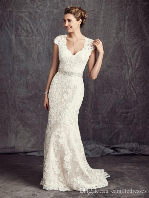 Vintage 2016 Full Lace Wedding Dresses V Neck Modest