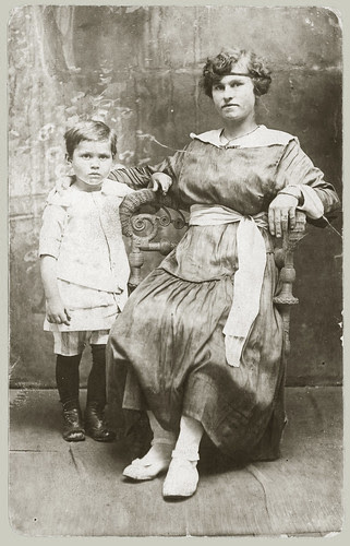 rppc, woman and child in studio.