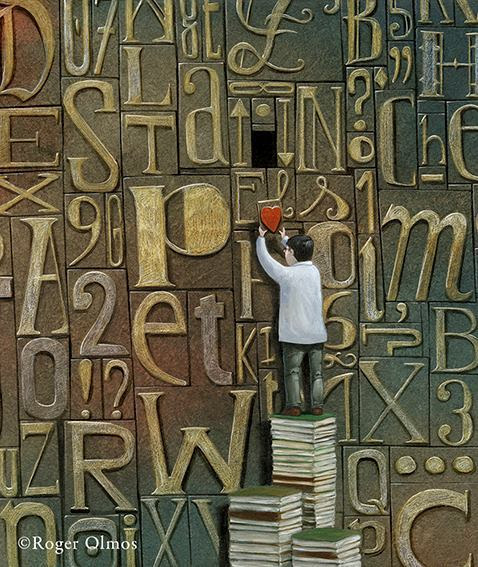Cada letra, cada palabra que leo, me lleva al corazón del libro (ilustración de Roger Olmos)