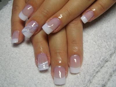 Gel Rosé Légerement Pailleté Et Gel Blanc Ongles En Gel Uv