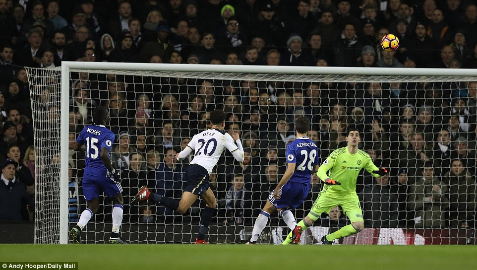 Alli put the right amount of placement and power on the ball to ensure Chelsea goalkeeperThibaut Courtois had no chance