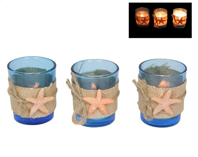 3pce 6cm Beach Theme Blue Glass Candle Holder With ...