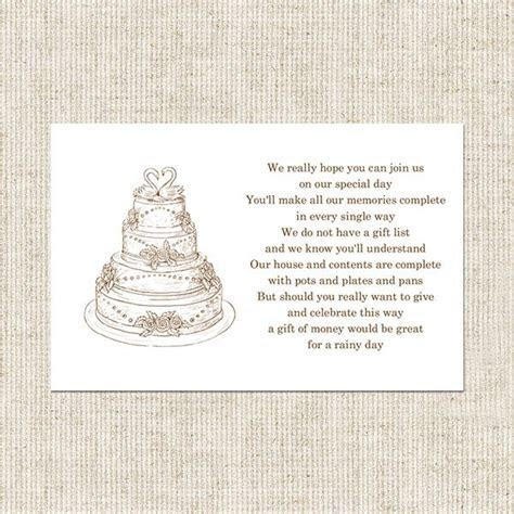 gift card poem for bridal shower   Wedding Cake Gift Poem