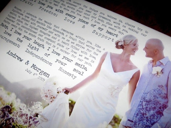Photo and Words Large Canvas vows lyrics Wedding Anniversary Gift Art  15x20  inches