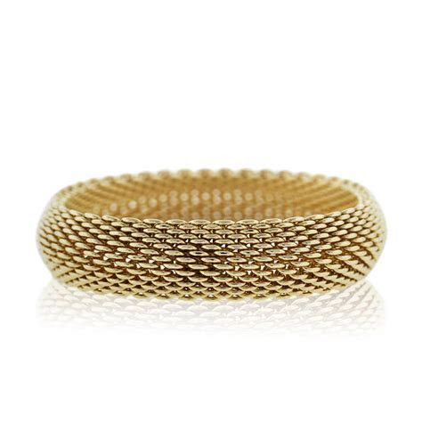 Tiffany & Co. 18k Yellow Gold Somerset Mesh Bangle Bracelet