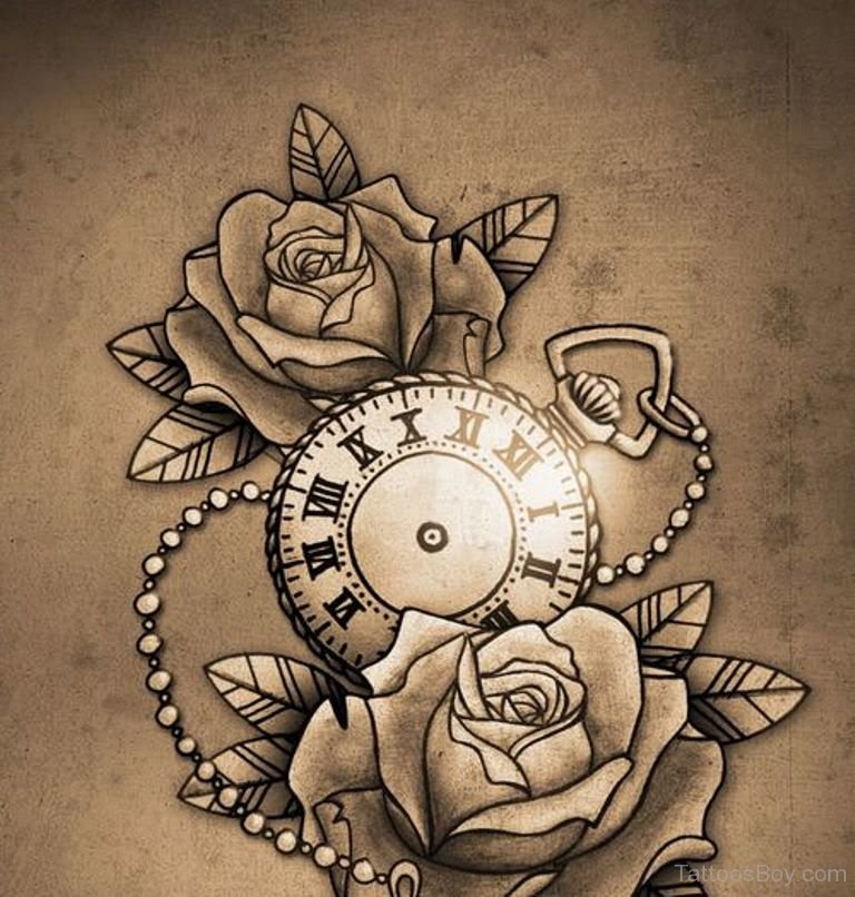 Rose And Clock Tattoo Tattoo Designs Tattoo Pictures
