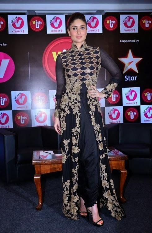 Kareena-Kapoor-Wear-Beautiful-Black-Gold-Churidar-Anarkali-Frock-Dress-by-Designer-Anamika-Khanna-12