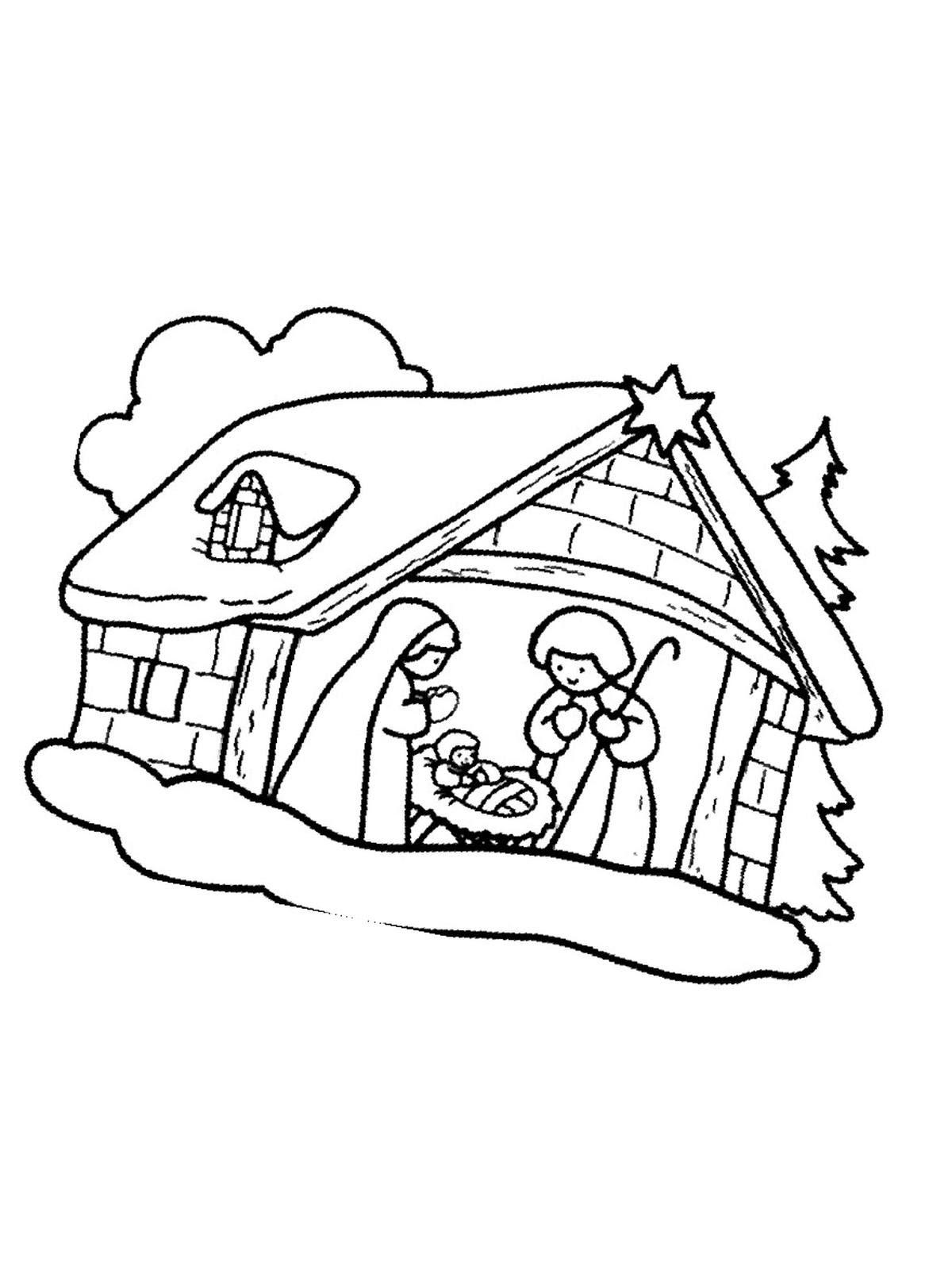 ausmalbilder krippe weihnachten