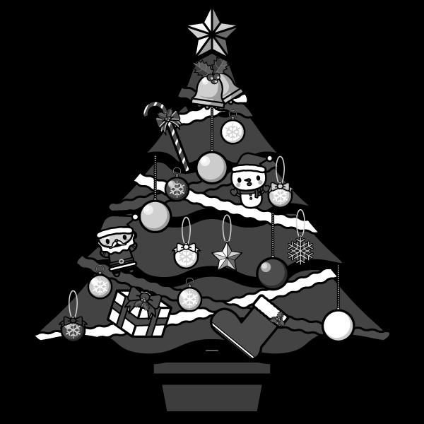 モノクロでかわいいクリスマスツリーの無料イラスト商用フリー オイデ43