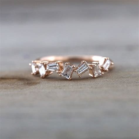 14k Rose Gold Dainty Baguette Cut Rectangle Diamond Band