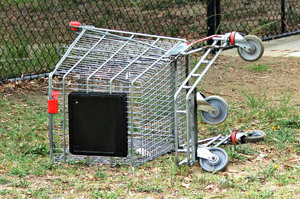 abandoned: dumped and abandoned shopping trolley