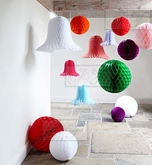 4X 8'' 20cm White Tissue Paper Pom Pom Honeycomb Ball Wedding ...