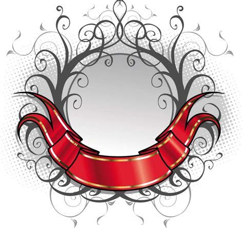 Red ornate title ribbon vector   Free download