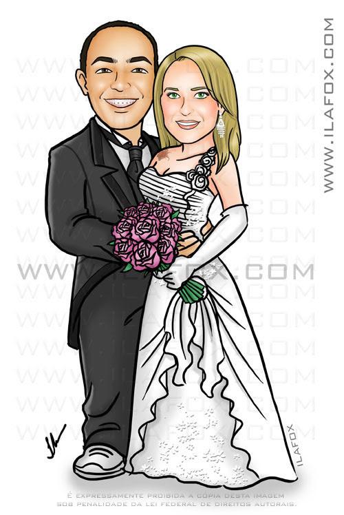caricatura corpo inteiro, casal, noivos, noiva loira, noivo moreno, noiva tatuagem, noivinho raquel e josé augusto, caricatura para casamento,  by ila fox