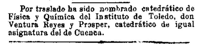 Noticia del traslado de Ventura Reyes Prósper a Toledo publicada en El Día el 13 - 06 -1898