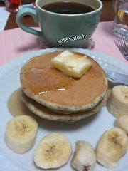 good morning! black sesame pancakes with banana