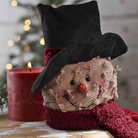 Primitive Plush Snowman Head   Christmas Ornaments