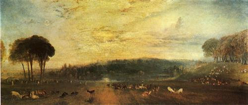 The Lake, Petworth sunset, fighting bucks - William Turner