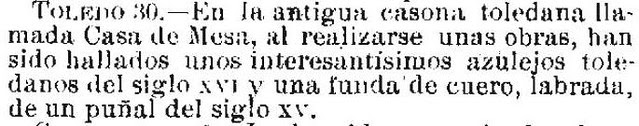 Noticia del hallazgo de restos interesantes en la Casa de Mesa en el diario La Época el día 1 mayo de 1924