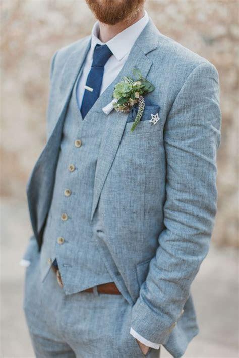 Light Blue Linen Men Suits For Beach Wedding 3 Piece Groom