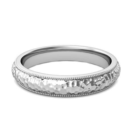 Mens Hammered Finish Wedding Band in Platinum Comfort Fit