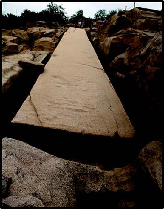 The large unfinished obelisk in the Aswan quarry. (Author provided)